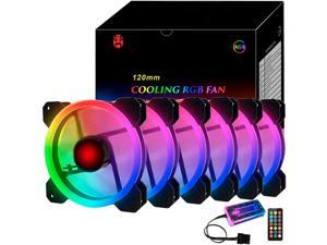 RGB Series Case Fans 120mm with Remote Controller Fan Hub and Extension, COOLMOON Quiet Edition High Airflow Adjustable Colorful PC Case CPU Computer Cooling with Coolers, Radiators System (6pcs)