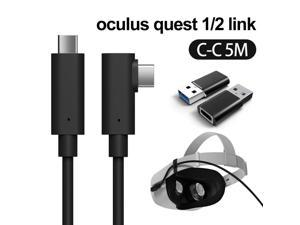 Compatible for Oculus Link Virtual Reality Headset Cable for Quest 2 / Quest and Gaming PC, 90 Degree Angled USB3.0 Type C to C High Speed Data Transfer & Fast Charging (16ft/5m) with USB C-A adapter