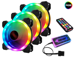 RGB Series Case Fans 120mm with Remote Controller Fan Hub and Extension, Quiet Edition High Airflow Adjustable Colorful PC Case CPU Computer Cooling with Coolers, Radiators System (3pcs)