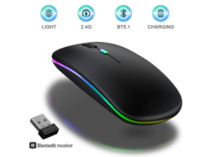 LED Bluetooth Wireless Mouse,Bluetooth Mouse for MacBook Pro,Bluetooth Mice for MacBook Air,Rechargeable Wireless Mouse for MacBook, Laptop, Mac,ipad,ipad Pro (Black)