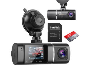 Dual Dash Cam Hardwire Kit Included FHD 1080p+1080p Front Inside Cabin Car Camera Driving Recorder with Infrared Night Vision WDR G-Sensor Loop Recording for Taxi Rideshare