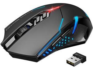 Wireless Gaming Mouse with Unique Silent Click, Breathing Backlit, 2 Programmable Side Buttons, 2400 DPI, Ergonomic Grips, 7-Button Design - Black