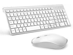 Wireless Keyboard and Mouse Combo,Slim Wireless Keyboard Mouse with Long Battery Life and Numeric Keypad for Laptop,Desk top (Silver+White)