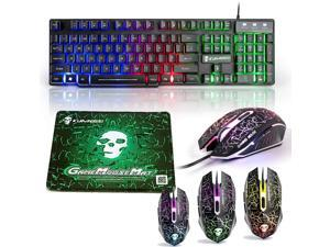 Gaming Keyboard LED Backlit Wired Keyboard and Mouse Combo with Emitting Character 2400DPI USB Mice Multimedia Keys Rainbow Backlight Mechanical Feeling for OS Windows X86 X64 Win7 8 Mac (T6 Black)