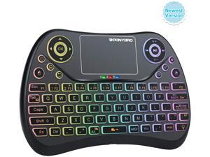 (Newest Version)  Mini Wireless Keyboard with Touchpad QWERTY Keypad,Backlit USB Keyboard Mini,Handheld Keyboard Remote Controller for Android TV Box,Smart TV,HTPC,PC,Notebooks.