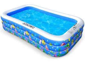 "AOKIWO Family Inflatable Swimming Pool, 121"" X 71"" X 21"" Full-Sized Inflatable Lounge Pool Kiddie Pool for Kids, Adults, Infant, Garden, Backyard, Outdoor Swim Center Water Party"