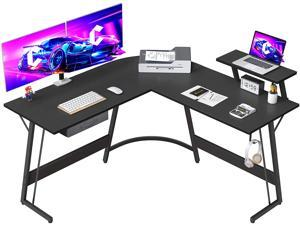 """Gaming L-Shaped Desk Computer Corner Desk, 50.8"""" Home Ofice Gaming Desk, Office Writing Study Workstation with Large Monitor Stand, Space-Saving, Easy to Assemble"""