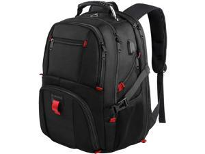 Laptop Backpack with USB Charging Port & Headphone Port, 17-Inch Fashional Computer School Backpack Water Resistant Business Bag Black Anti-theft Travel Backpacks for Men Women