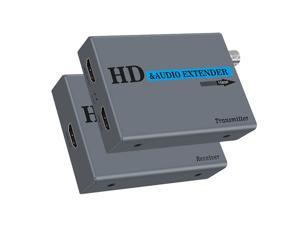 HDMI Extender Over a Coaxial Cable (RG6/RG7/RG11) 1080P60HZ Compliant with HDMI1.4 Support 48 KHz PCM Digital audio with HDMI Loop out and Coaxial Loop out,up to 1640ft(500M)