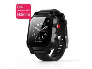 Waterproof 42mm Apple Watch Series 3 & 2 with Premium Soft Silicone Band Built-in Screen Protector, iwatch Protective Case Slim Thin Drop Shock Proof Apple Watch Case (Black)