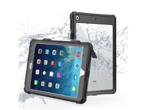 ShellBox Case iPad 8th/7th Generation Waterproof Case, Full-Body Heavy Duty Shockproof Protective Cover Built-in Screen Protector Pencil Holder Shoulder Strap for iPad 10.2 2020/2019 (Black)