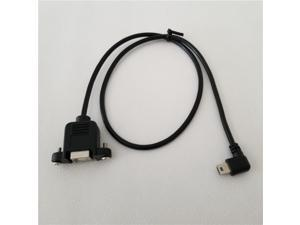 90 Degree Right Angle Mini USB B Male to USB B Female Data Cable Panel Mount with Screws For Printer,Black,50cm