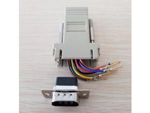 10pcs/lot RJ45 Female to DB9 Male RS232 COM Port Modular Extender for PC DIY,rj45 adapter