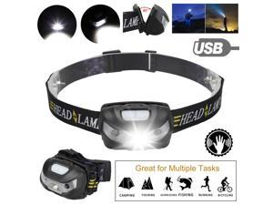 LED Headlamp USB Rechargeable Flashlight Head Lamp Torch Camping Waterproof USA