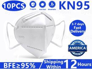 Byson KN95 Mask, Non-Disposable Protective Mask Anti Covid-19 Virus Mask Surgical Face Mask Anti Flu Mask, Breathable, Dustproof, Nonwoven Fabrics, 5 Layers Protective Mask - 10 Pcs
