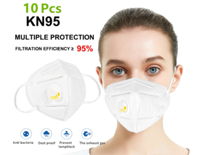 KN95 Mask with Self-priming Filter - N95 Anti-Fog FFP2 Dust Mask PM2.5 Face Masks - Air Filter Dust Proof Healthy Protective Respirator (10 PCS)