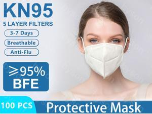 100 Pcs KN95 Mask Protective Respirator, pm2.5 5-Layer N95 Mask Face Mask Adult Anti-fog Haze Dustproof Non-Woven Fabrics Protective Mask