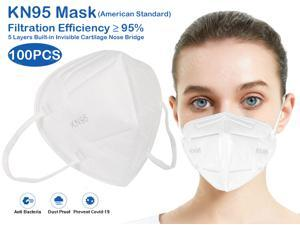 100PCS KN95 Mask, 5 layer Anti COVID-19 Virus Anti Pollution Earloop Face Mask for Personal Protective Respirator Reusable, Non-Disposable Face Mask Work Mask for Adult