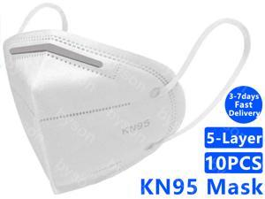 KN95 Face Mask Non-Disposable Protective Mask Anti Covid-19 Virus N95 Mask Surgical Face Mask Anti Flu Mask, Breathable, Dustproof, Nonwoven Fabrics, 5 Layers Protective Mask - 10 Pcs