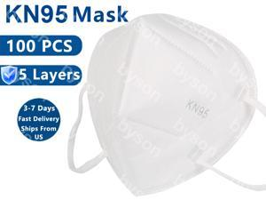 KN95 Mask, 5 layer Non-disposable Protective Mask Anti Covid-19 Virus Earloop Face Mask for Personal Protective Respirator Reusable, Non-Disposable Face Mask Work Mask for Adult - 100 pcs