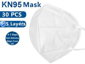 30pcs KN95 Mask, 5 layer Anti Virus Earloop Face Mask for Personal Protective Respirator Reusable, Non-Disposable N95 Mask Work Face Mask for Adult