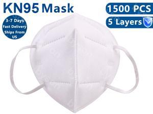 1500PCS KN95 Mask, 5 layer Anti Pollution Earloop Face Mask for Personal Protective Respirator Reusable, Non-Disposable Face Mask Work Mask for Personal
