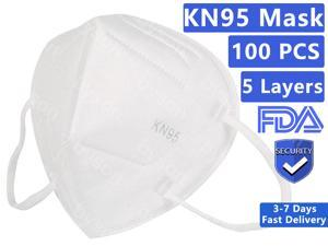 100PCS KN95 Mask, 5 layer Anti Covid-19 Virus Earloop Face Mask for Personal Protective Respirator Reusable, Non-Disposable N95 Face Mask Work Mask for Adult & Kids