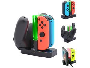 Ackmioxy Controller Charger Compatible with Nintendo Switch, Charging Dock Stand Station Compatible with Switch Joy-con and Pro Controller with Charging Indicator and Type C Charging Cable