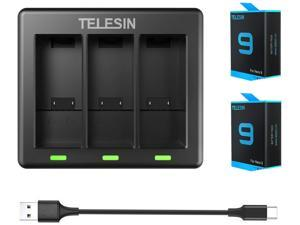 TELESIN 2-Pack Replacement Batteries (1750mAh) and 3-Channel USB Quick Charger with Type-C Cord for GoPro Hero 9 Black, Fully Compatible with Go Pro 9 Original Charger and Battery