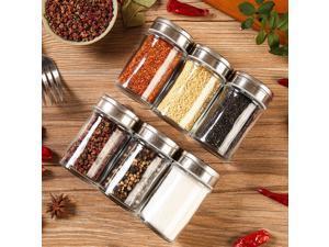 Byson Salt Shaker Pepper Shakers Salt and Pepper Container Shakers Stainless Steel & Glass Seasoning Shaker for Salt Sugar Spice Pepper Kitchen Moisture Proof