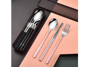 3 PCS Outdoor Flatware Set Spoon Chopsticks/Travel Flatware Set with a Case