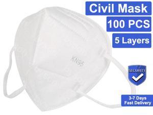 100 Pcs KN95 Mask Protective Respirator, pm2.5 5-Layer KN95 Mask Face Mask Adult Anti-fog Haze Dustproof Non-Woven Fabrics N95 Mask for Adult & Kids