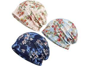 Kayier 3 Pack Baggy Slouchy Beanie Chemo Cap for Cancer Patients