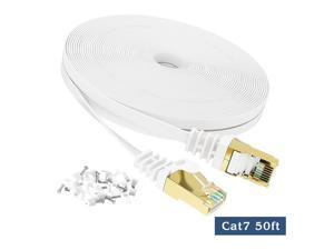 Cat 7 Ethernet Cable 50 FT, VANDESAIL  Internet Network Cord Shielded, Long High Speed RJ45 LAN Wire for Router, Modem, Gaming, Xbox (White)