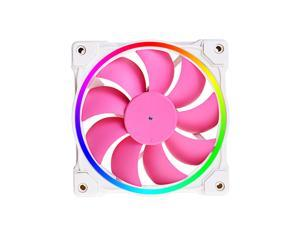 ZF-12025-PINK Case Fan 120mm Colour ARGB Temperature Control Water Cooling Radiator 5V 3 PIN Addressable RGB Cooling Fan MB Sync, 4 PIN PWM Speed Control Fans for Radiator