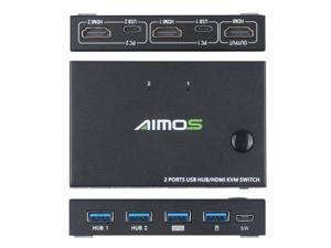 4K HDMI KVM Switch 2 Port Box, Support Wireless Keyboard and Mouse Connections, USB 2.0 Hub KVM Switch Splitter Box For Sharing Printer Keyboard Mouse