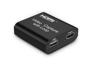HDMI Audio Video Capture Device Zero Delay Loop Output Port HDMI to USB 2.0 Game Capture Card