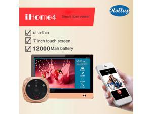 ROLLUP iHome4 WiFi Peephole Door Viewer&Video IP Doorbell 7Inch Screen IR PIR Door HD Camera Motion Detect Remotely Control