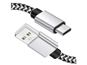 USB Type C Cable 20ft Extra Long Deegotech USB A to USB C Cable Fast Charging Nylon Braided Cord Compatible with Samsung Galaxy S10/S9/S8 Plus Note9/8 PS5 Controller LG V20 and More(Black&Silver)