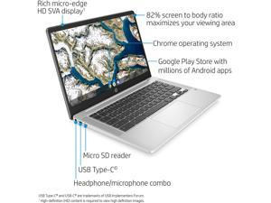 2020 HP Chromebook 14-inch HD Laptop, Intel Celeron N4000, 4 GB RAM, 32 GB eMMC, Chrome (14a-na0010nr, Mineral Silver)