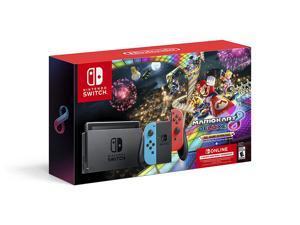 Nintendo Switch - Neon Blue/Neon Red Joy-Con + Mario Kart 8 Deluxe (Download) + 3month Nintendo Switch Online membership - Black/Neon Blue/Neon Red