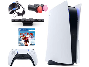 Playstation Console and Playstation VR Bundle - PS5 Disc Version with Wireless Controller, PSVR Headset, Camera, Move Motion Controller, Iron Man Game & Accessories