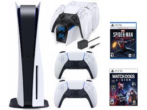 PS5 Bundle: PS5 Disc Console+DualSense Wireless Controller + Watch Dogs: Legion and SpiderMan: Miles Morales+Ozeal charging station for PS5