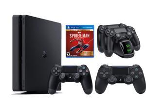 PS4 bundle: PlayStation 4 Slim 1TB Console + DualShock 4 Wireless Controller and Marvel's Spider-Man: Game of The Year Edition + Ozeal Charging Station for PS4