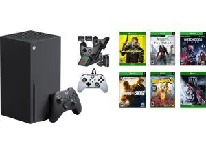 Xbox Deluxe bundle: Microsoft Xbox Series X 1TB SSD Black Console and Wireless Controller + Ozeal Charging Station with Six Games