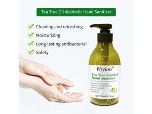 Wytion Hand Sanitizer Gel with Tea Tree Oil, contain 75% Alcohol Kill Bacteria Effective Pump Up 500ml Large Size for House Office Public School Disinfection Sterilization Non Sticky Speed Dry