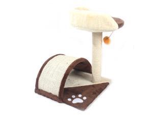 "19"" Sisal Hemp Cat Tree with Cat Scratchers Toys Brown"
