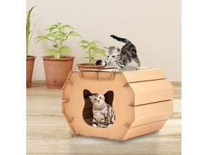 Cat Scratcher Board Scratcher Cardboard House Corrugated Paper Ears Shaped Durable Scratching Assembled Kitten with Pad for Indoor Kitty Recyclable Carton