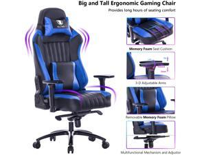 VON RACER Big and Tall 400lb Memory Foam Gaming Chair-Adjustable Tilt, Angle and 3D Arms Ergonomic High-Back Leather Racing Executive Computer Desk Office Metal Base