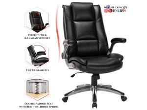 STARSPACE High Back Office Chair - Ergonomic Executive Desk Chair With Flip-Up Arms & Adjustable Tilt Angle - Bonded Leather Computer Chair with Neck & Lumbar Support - Swivel Study Chairs